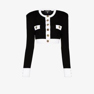 Balmain Two Tone Cropped Knit Jacket