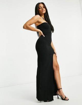 I SAW IT FIRST sweetheart double strap split leg maxi dress in black