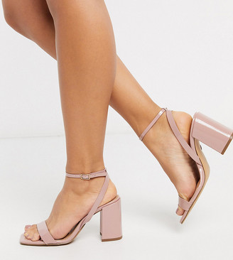 Barely There ASOS DESIGN Wide Fit Havana block heeled sandals in beige patent