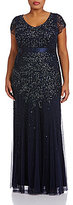 Adrianna Papell Plus Cap-Sleeve Beaded Gown