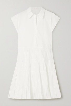 See by Chloe Pleated Tiered Cotton-poplin Shirt Dress - White