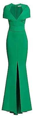 Safiyaa Women's Heavy Crepe Cape Sleeve Gown