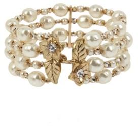 Miriam Haskell New York Imitation Pearl Multi Row Cuff Bracelet