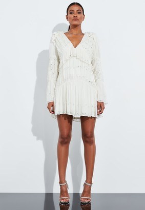Missguided Ivory Diamante Detail Ruched Frill Mini Shift Dress