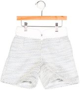 Miss Blumarine Girls' Metallic Embroidered Shorts