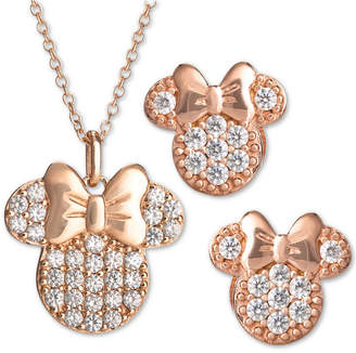 Disney Children 2-Pc. Set Cubic Zirconia Pave Minnie Mouse Pendant Necklace & Matching Stud Earrings in 18k Rose Gold-Plated Sterling Silver