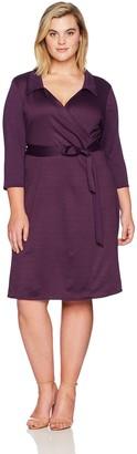 Star Vixen Women's Plus-Size Plus-Size Str Ponte Classic Fauxwrap Dress W Collar Dress
