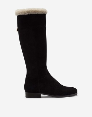 Dolce & Gabbana Split-Grain Leather Boots With Shearling