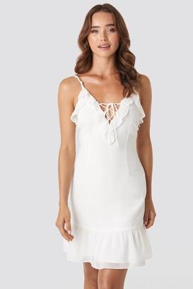 NA-KD Paola Maria X Tie Detail Frilled Dress White