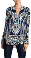 Hale Bob Long Sleeve Print Tunic Top