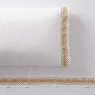 Pottery Barn Teen Lilly Pulitzer Organic Embroidered Trim Sheet Set, Queen, Gold