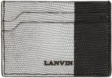 Lanvin Black & Silver Lizard Card Holder