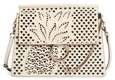 Chloé Medium Faye Perforated Leather Shoulder Bag - White