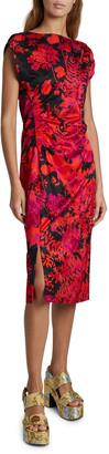 Dries Van Noten Deto Dolman-Sleeve Floral-Print Dress