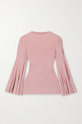 Oscar de la Renta Pointelle-trimmed Ribbed Silk-blend Sweater - Baby pink