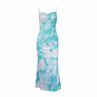 DISSA Women Blue Printing Sleeveless Sheath Dress Backless Slip Dress Sexy Bodycon Maxi Dresses Party Cocktail Business D3029a 6