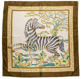 Salvatore Ferragamo Zebra Print Silk Scarf