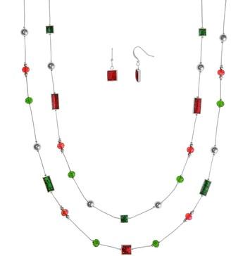 Christmas Bead Multi Strand Necklace & Drop Earring Set