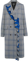 MSGM Ruffled Checked Cotton-blend Coat - Gray