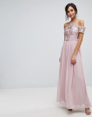 Chi Chi London Halter Maxi With Off Shoulder Lace Detail in mink-Brown