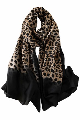 Trillion Silk Scarf For Women's Ladies Lightweight Animal Print Scarves Shawls Luxury Gift for Christmas (Leopard Print 3)(Size: 200CM L X 100CM W)