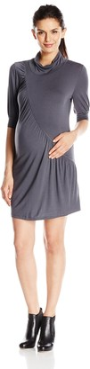 Everly Grey Women's Maternity Talia Short Sleeve Turtleneck Tunic Dress