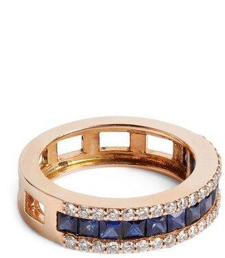 Bee Goddess Rose Gold, Diamond and Sapphire Mondrian Ring (Size 14)