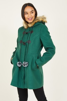 Yumi Green Duffle Coat With Pom-Poms
