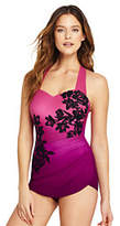 Lands' End Women's Petite Slender Tunic One Piece Swimsuit-Orchid Wine Rose Ombre