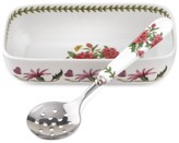 Portmeirion 2-Pc. Botanic Garden Cranberry Dish & Slotted Spoon