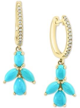 Effy Turquoise Cluster & Diamond (1/10 ct. t.w.) Dangle Drop Earrings in 14k Gold