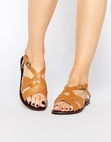 Park Lane Strap Sling Leather Flat Sandals