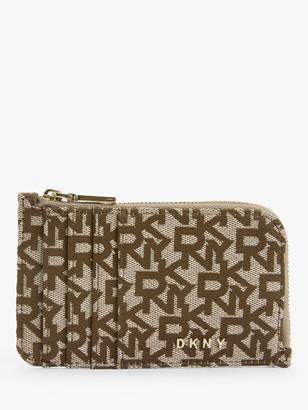 DKNY Bryant Logo Fabric Zip Around Card Holder, Chino/Sand