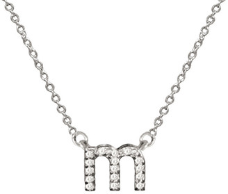 Jane Basch 14K White Gold Diamond Lowercase Initial Necklace (A-Z)
