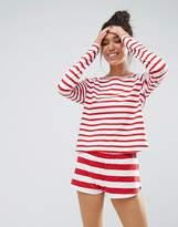 Asos 100% Cotton Contrast Stripe Red Long Sleeve Tee & Short Pyjama Set