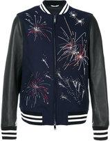 Valentino Leather Sleeves Wool Jacket