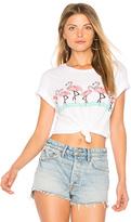 Lauren Moshi Evie Flamingo Crop Tee in White