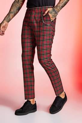 boohoo True Tartan Chain Detail Cropped Trouser