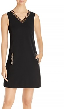 T Tahari Embellished V Neck Dress