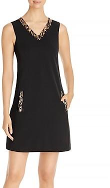 T Tahari Embellished V Neck Dress