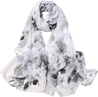 Newluk 2020 Women's Scarf Fashion Women Flower Print Long Soft Wrap Scarf Simulation Silk Shawl Scarves for Birthday Gift