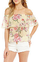 Billabong Spring Fling Floral-Print Lace-Trim Off-The-Shoulder Top