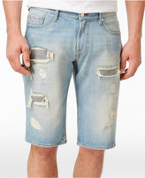GUESS Men's Regular-Fit Straight-Leg Distressed Cotton Denim Shorts
