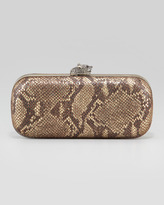 House Of Harlow Addison Snake-Embossed Clutch Bag, Brown/Gold
