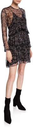 IRO Society Printed Ruffle Tiered Dress