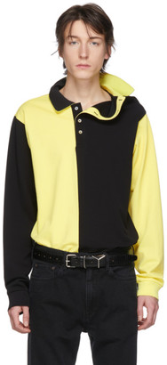 Y/Project Black and Yellow Asymmetric Collar Polo
