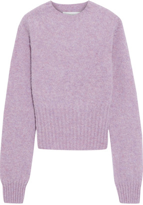Victoria Beckham Cropped Melange Brushed-wool Sweater