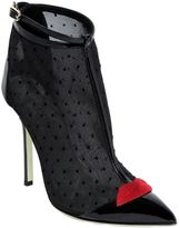 100mm Mesh & Patent Leather Ankle Boots
