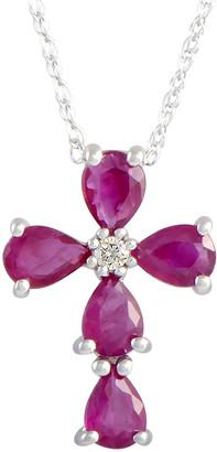 Generic Gemstones 14K Diamond & Ruby Necklace