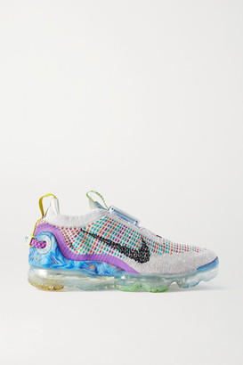 Nike Vapormax 2020 Rubber And Canvas-trimmed Flyknit Sneakers - Platinum